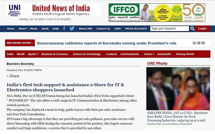 DVCOMM.IN Article at United News of India - 19 Dec 2018