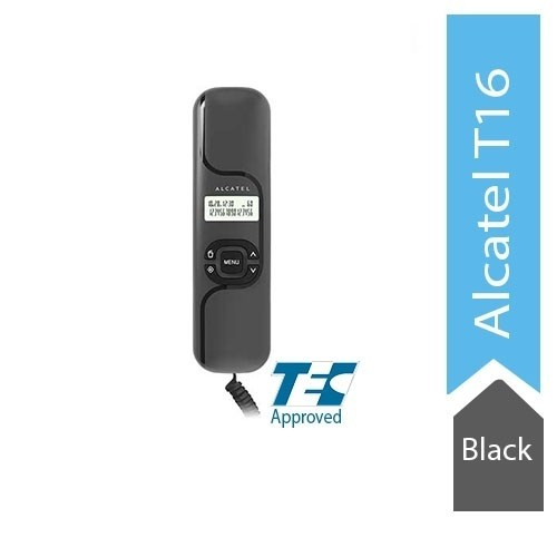 Alcatel T16 Ultra Compact Corded Landline Phone with Caller ID Wall Mounted (Black)