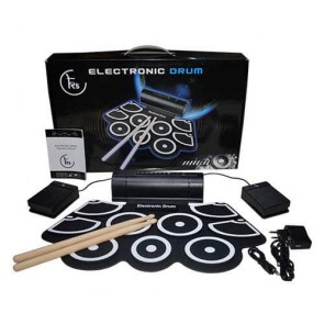 K's Portable 9 pad Electronic Roll up Drum with Built-in Speaker and 2 Foot Pedals and 2 Drum Stick