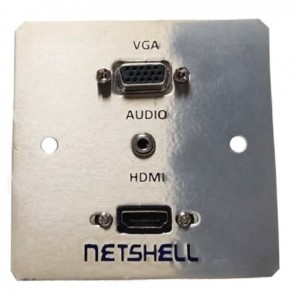Netshell Audio Video AV Wall Plate with VGA (F) One Audio Sterio Jack 3.5 MM & One HDMI Port