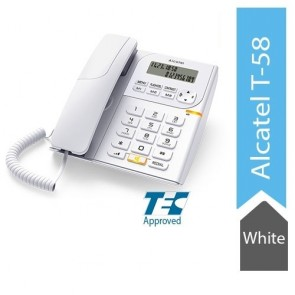 Alcatel T58 Corded Landline Phone With Display & Speaker (White)